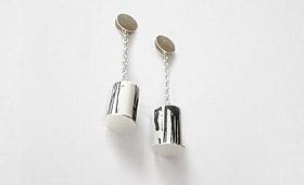 Ohrstecker – Porzellanrohr mit Silberkette
